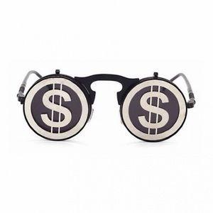 STEAMPUNK FLIP UP ROUND VINTAGE MONEY $ SUNGLASSES